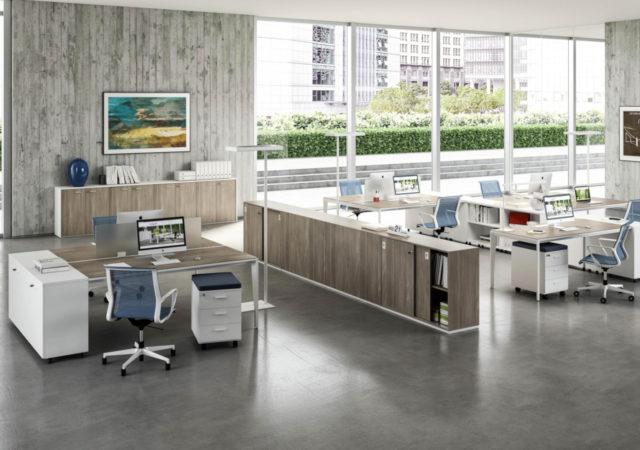Miza za pisarno X9 s predalniki in omarami
