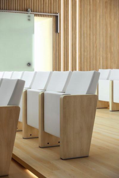 Dvoranski stoli Audit 30 z lesenim ročnim opiralom