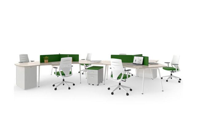 Pisarniška miza Twist s pregradami in predalniki